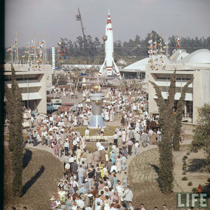 Disneyland opening day 1955 - Tomorrowland. From Life Magazine, photos by Allan Grant and Loomis Dean. Color corrected by United Style.