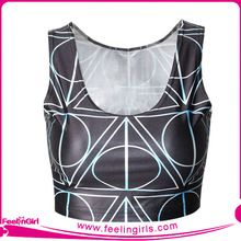 2015 Hot sale plain black crop top with geometry print Best Seller follow this link http://shopingayo.space
