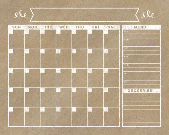 Kraft Calendar Horizontal Family Planner Wall by BlissNotions