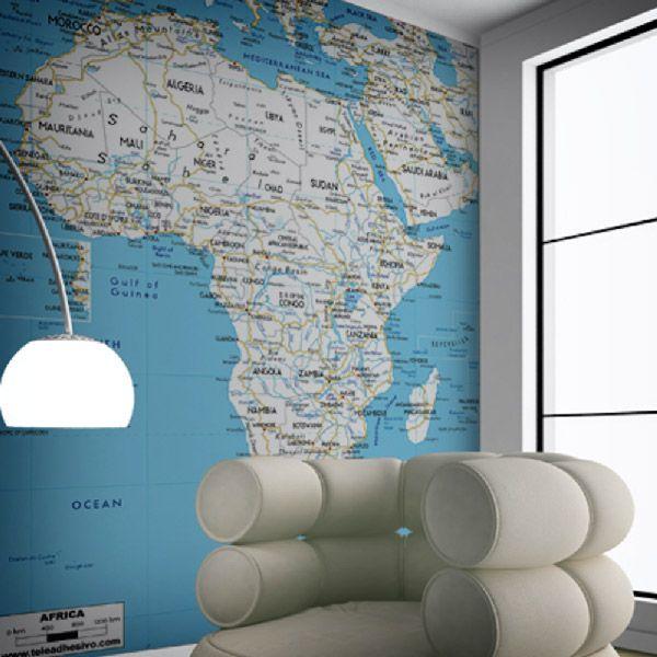 Mappa Africa Routes per decorare una parete #mappa #politica #adesivi #murali #vinile #deco #decorazione #muro #StickersMurali