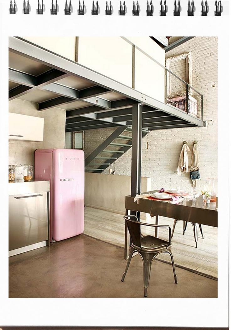 baby pink smeg fridge