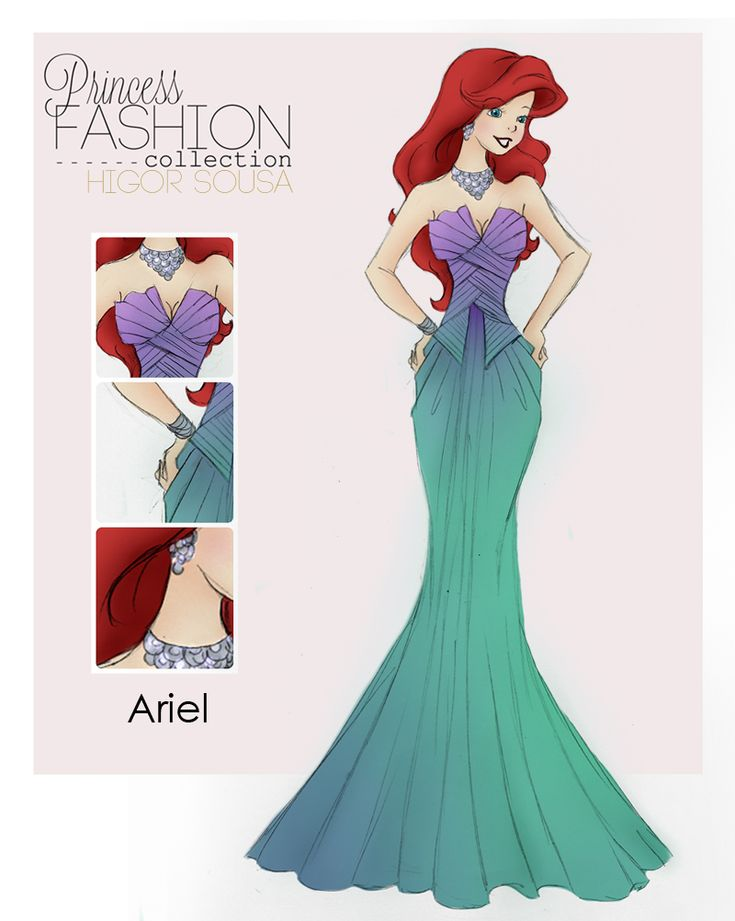 Princess Fashion Colection - Ariel by ~HigSousa on deviantART - The colors in this are gorgeous, and I love how the design echos her seashell and tail mermaid form! <3