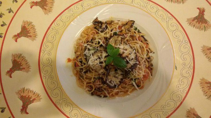Spaghetti alla norma,   With aubergine and  ricotta salata