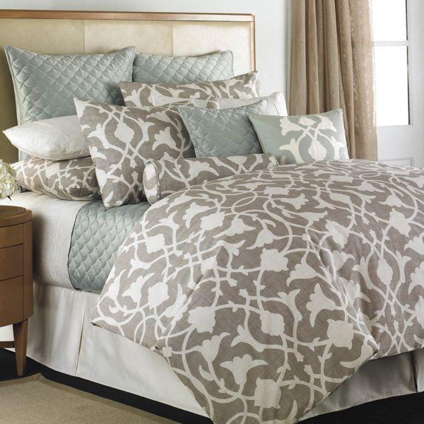 Beige & Gray-Blue Bedding