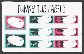 Fun and funky Tub Labels: Megaphone Pink and Megaphone Blue Designs in 4.5 x 3…