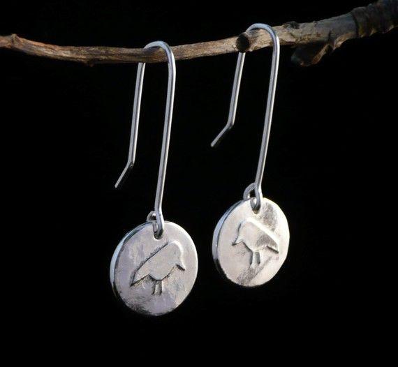 Sterling Silver Wee Bird Earrings on Etsy