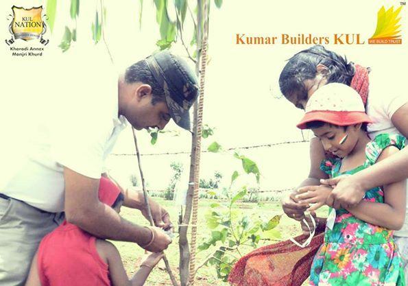 Kids on the event of Tree Plantation organized by Kumar Builders KUL.