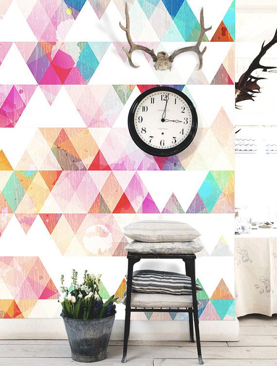 Wall on other side of kitchen and wall by dining table. Multi-colored Geometric Wallpaper Triangle Wall Decal Wall Art Triangle Wall Mural Colorful Ink Splash Paper Tile Fresh Watercolor 55x35