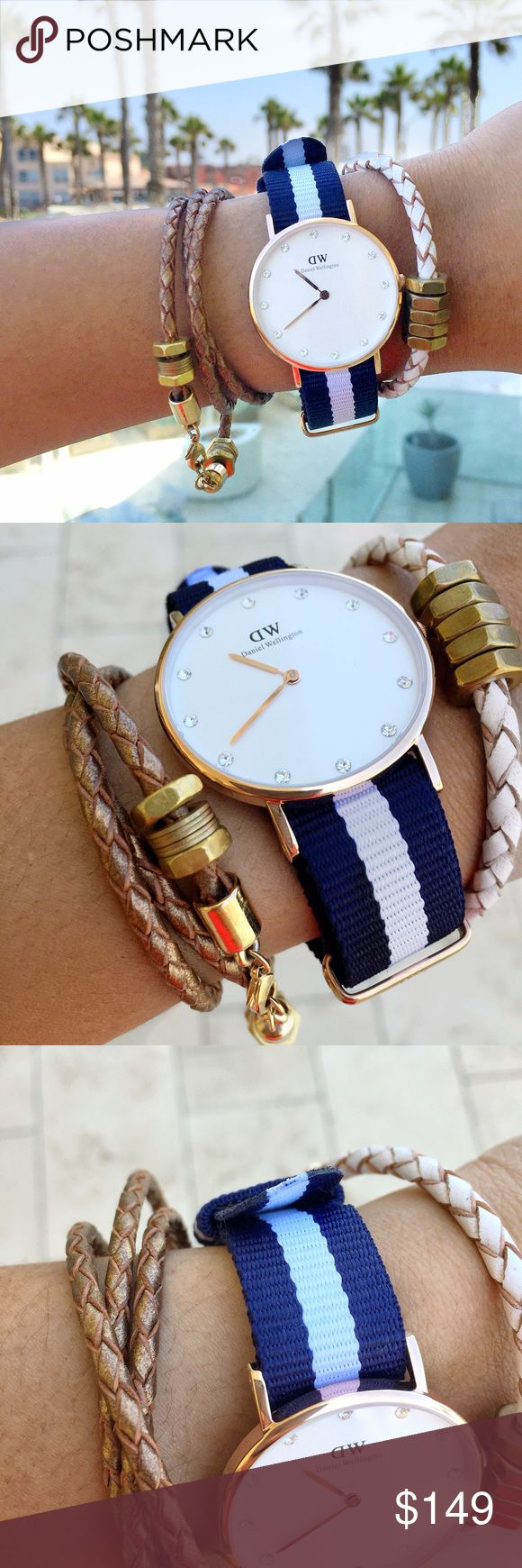 "Daniel Wellington Watch Blue and white nato strap with a slim case in rose gold, rose gold hands, Swarovski crystal index. Available on danielwellington site ""Classy Glasgow 34MM"" site for $175. In excellent like new condition. See photos. Will ship watch only with box. Bracelets for sale separately in my closet. Add to Bundle items to save!   Size: 34mm Case thickness: 6mm Dial color: Eggshell White Movement: Japanese Quartz Strap width: 17mm Strap: Blue/White Nato Strap Interchangeble…"