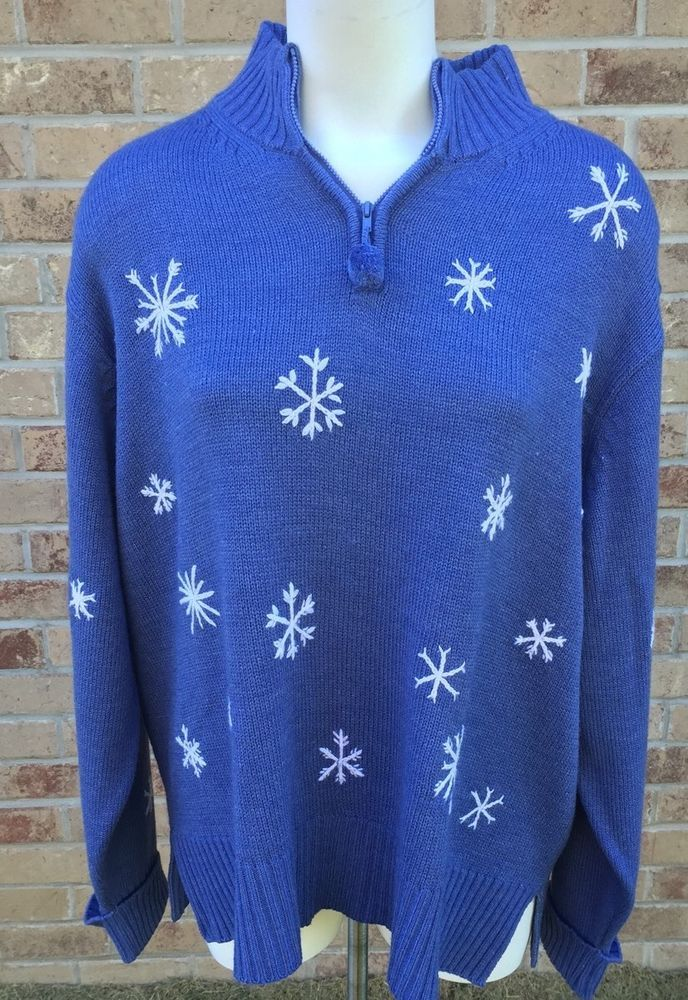 "Route 66 Size 3X Blue Sweater with Snowflakes With 3/4"" Zipper Acrylic #Route66 #TurtleneckMock"