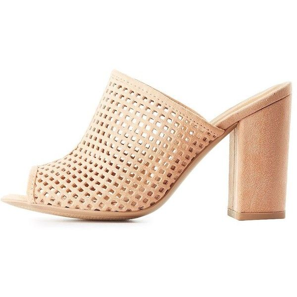 Qupid Perforated Peep Toe Mules (£25) ❤ liked on Polyvore featuring shoes, blush, peep toe mules shoes, peep-toe shoes, mule shoes, peeptoe shoes and peep-toe mules