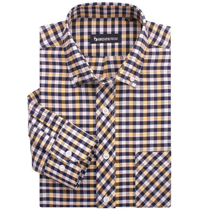 >> Click to Buy <<  Positive brand men's shirts men's oxford shirt iron plaid long-sleeved shirt yellow black and white checkered shirts men A1273 #Affiliate