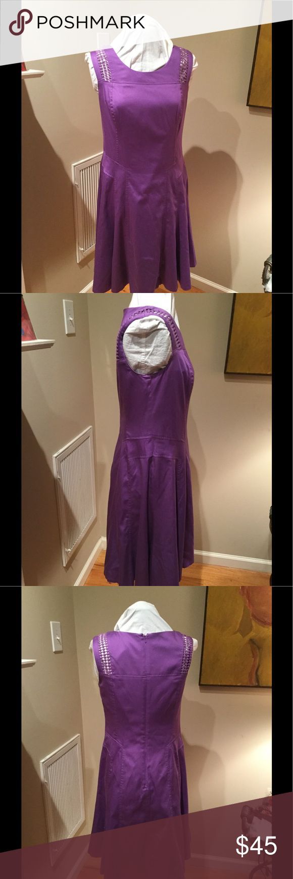 💖Gorgeous Purple Dress, lined 💖 Super adorable purple dress in a spring summer weight cotton blend and fully lined. Hidden back zipper. Drop waist and semi A line cut. Smoke free closet . Worn once and in excellent clean condition. Size 6 but forgiving cut. Bust is 17 1/4; length is 38 3/4; waist 16 1/2 . Beautiful seaming and looks fabulous on for work to worship of dress down days. Nine West Dresses Midi