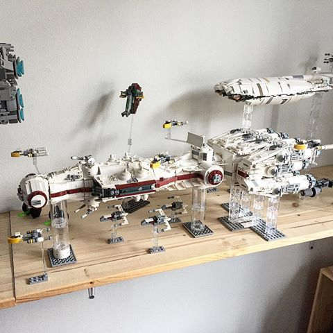 "My ""UCS"" #blockaderunner moc in the middle of the fleet escorted by #xwing and #ywing fighters. #slave1 can be seen buzzing by in the background. #starwarslego #legostarwars #legostagram #lego_hub #legophotography #starwars #starwarsfan #lego"
