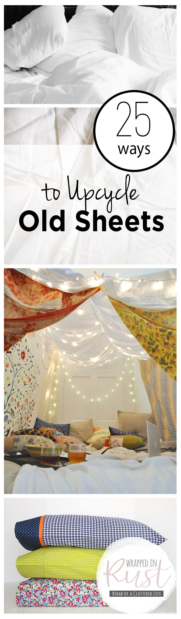 How to Reuse Old Sheets, How to Upcycle Old Sheets, Things to Do With Old Sheets, Repurpose Projects, How to Repurpose Old Sheets, Life Hacks, Repurpose, Popular Pin
