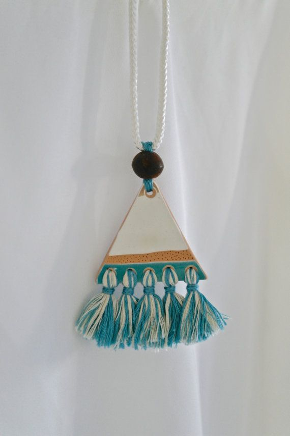 Polymer clay tassel necklace with wooden bead by Kelaoke on Etsy
