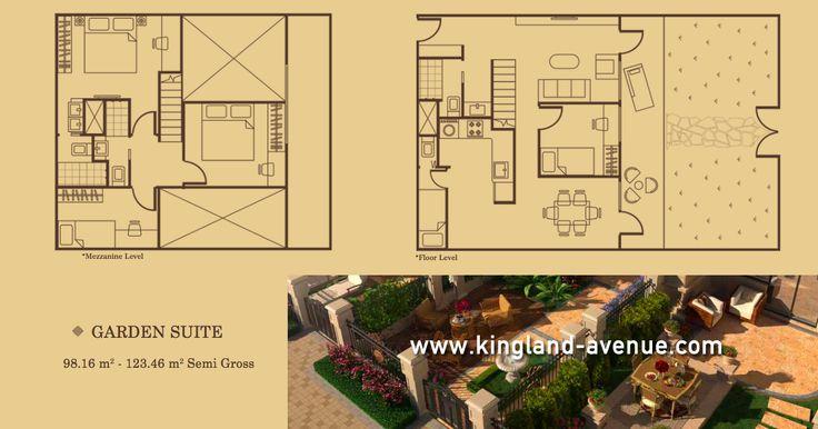 Denah lantai LOFT Tipe Garden Suite di Apartemen Kingland Avenue