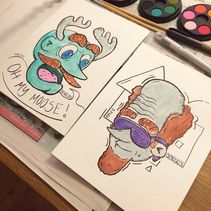 The finished watercolor pieces from yesterday. Great fun. #illustration #doodle #art #instaart #watercolor  #watercolour #ink #fineliner #face #beard #moose #aalborg