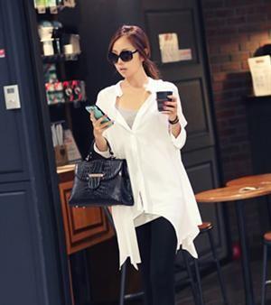 Korean Fashion Irregular Hem Loose Pure Color Blouse