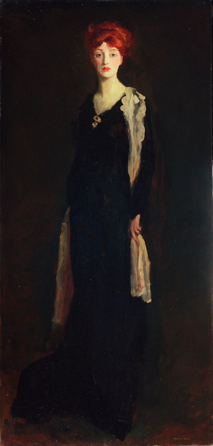 Robert Henri (American 1865-1929), [Ashcan School, The Eight, Portraiture] Lady in Black with Spanish Scarf (O in Black with a Scarf), 1910. Fine Arts Museums of San Francisco.