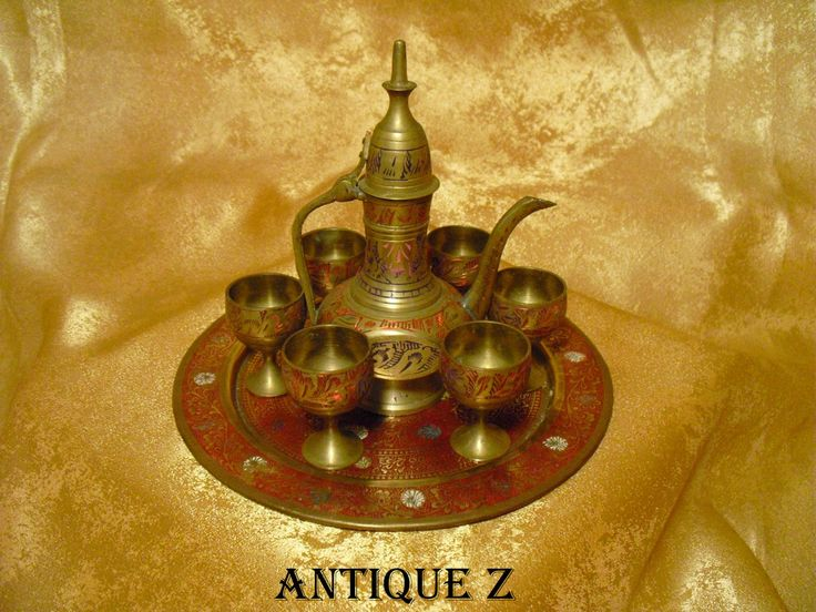 Oriental tea set, islamic, ottoman, persian byzantine, miniature, brass/bronze, enamel, hand engraved, antique by AntiqueBoutiqueZ on Etsy
