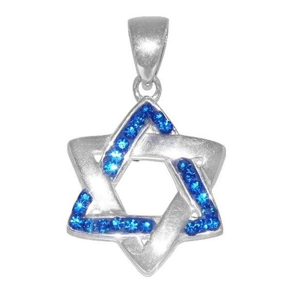 Sterling Silver & Crystal Magen David (Jewish Star) Pendant... (130 BRL) ❤ liked on Polyvore featuring jewelry, pendants, crystal jewellery, sterling silver star pendant, crystal stone jewelry, sterling silver pendants and sterling silver crystal pendant
