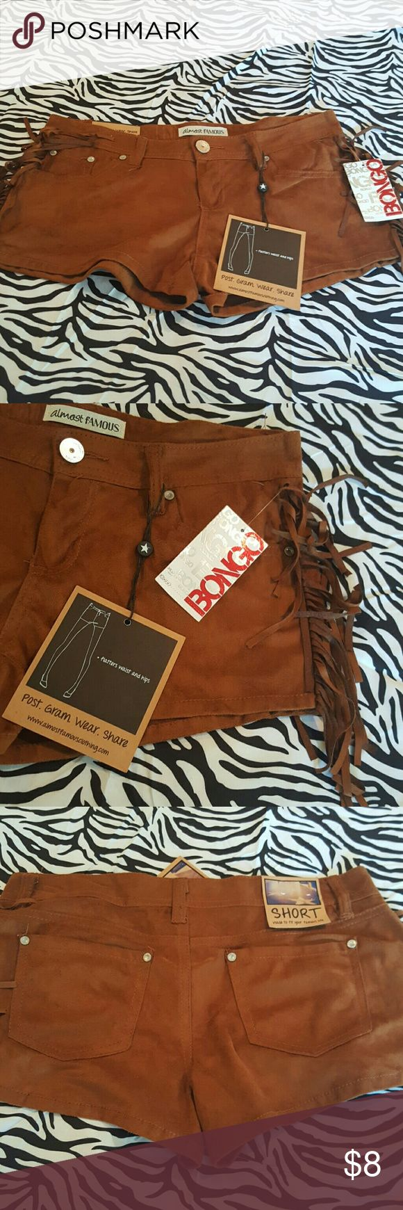 """Brand New w tags "" Bongo brown shorts w/fringes Brand new with tags Bongo brown shorts w fringes on sides. Message me for more info.  More clothing coming soon!!! 100% polyester. Size :5 BONGO Shorts"
