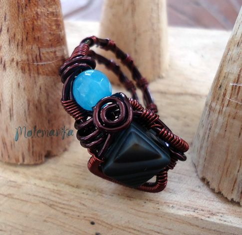 adjustable ring copper wire, agate stones