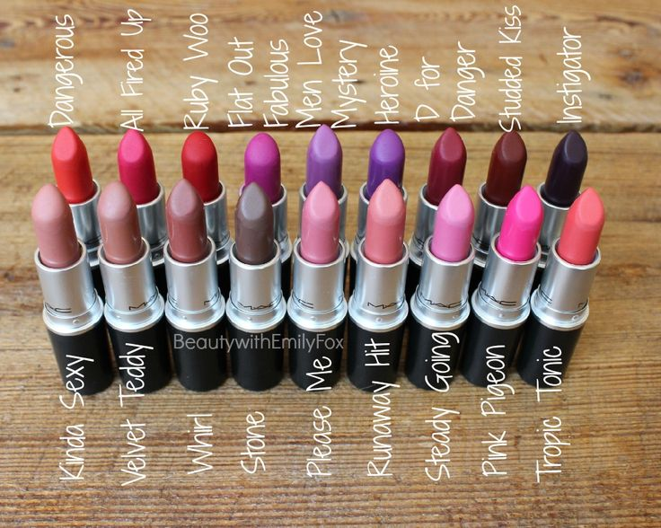 Mac The Matte Lip Lipstick Collection: Kinda Sexy, Velvet Teddy, Whirl, Stone, Please Me, Runaway Hit, Steady Going, Pink Pigeon, Tropic Tonic, Dangerous, All Fired Up, Ruby Woo, Flat Out Fabulous, Men Love Mystery, Heroine, D For Danger, Studded Kiss and Instigator!