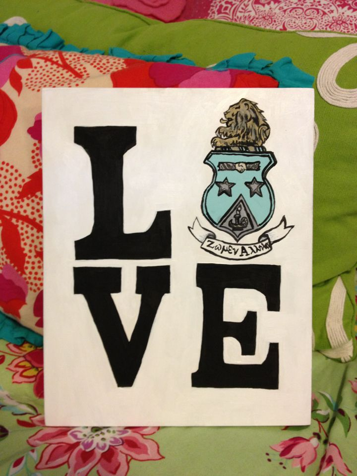 "use your crest as the ""O"" in LOVE and you get a fun gift for any sorority girl!"