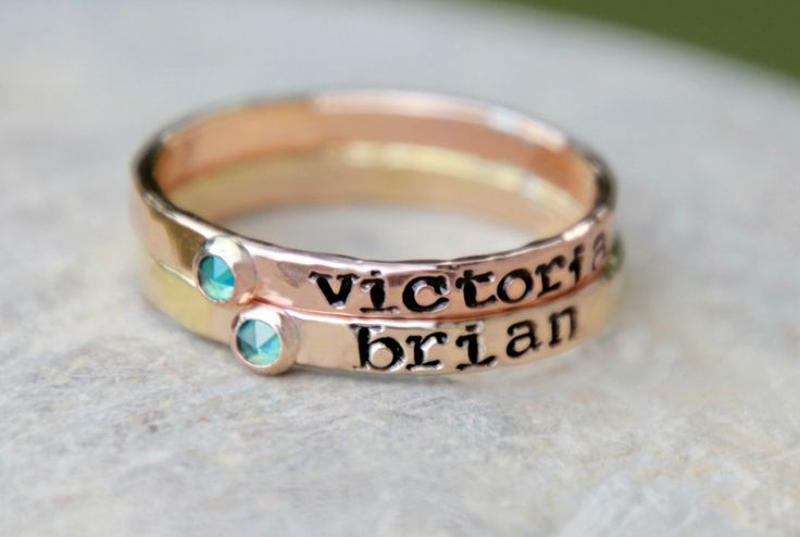 Hand Stamped BIRTHSTONE STACKING RING- stamped birthstone ring - stamped stacking birthstone ring - birthstone name ring - kids name ring by galwaydesigns on Etsy https://www.etsy.com/listing/293377235/hand-stamped-birthstone-stacking-ring
