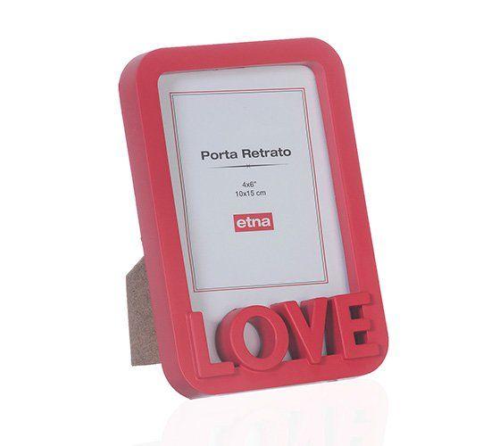 PORTA RETRATO LOVE MADEIRA VERMELHO 10X15CM