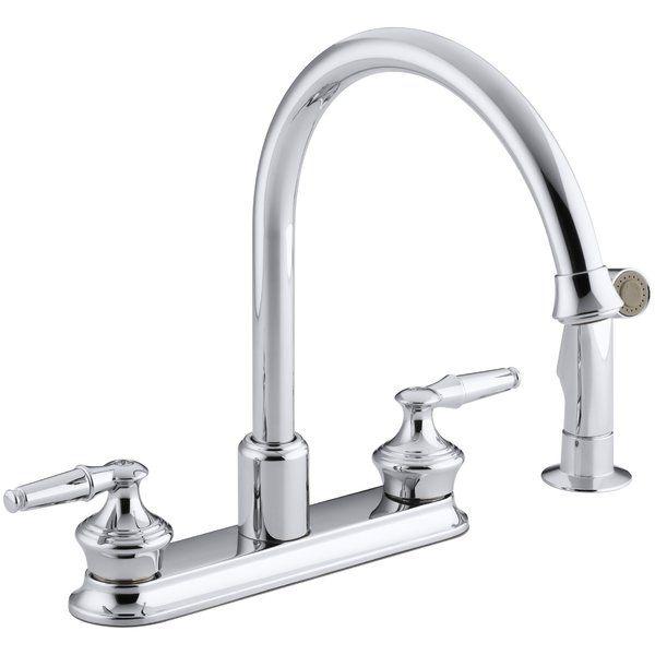 Coralais Three Hole Kitchen Sink Faucet With 9 Gooseneck Spout