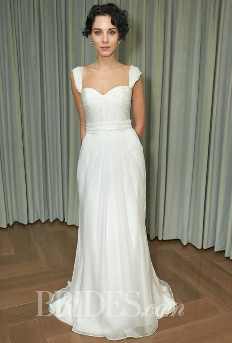 "Brides.com: Amy Kuschel - 2014. Style 1-SSC-1494-A, ""Tara"" silk satin chiffon sheath wedding dress with a draped sweetheart bodice and optional cap sleeves, Amy Kuschel"