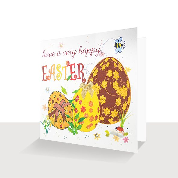 Easter Eggs : Happy Easter Card, Unique Greeting Cards, Luxury Handmade Cards, Unusual Cute Birthday Cards and Quality Christmas Cards