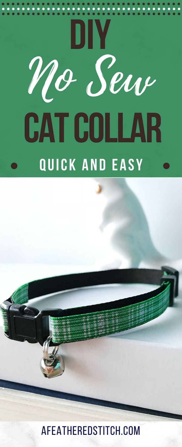 Diy No Sew Cat Collar With Bell A Feathered Stitch Diy Dog Collar Cat Collars Diy Cat Collars