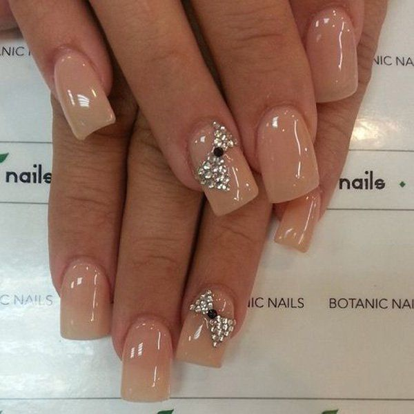 French Nude nails with glitter  bow ornament- 50+ Cute Bow Nail Designs
