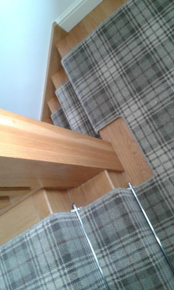 Ulster Carpets Beaumont installed by @mjwflooring Michael j Wilson Ltd   http://ulstercarpets.com/residential/choosing-your-carpet/search-by-range/country-house-collection#range-country-house-collection stair runner grey plaid