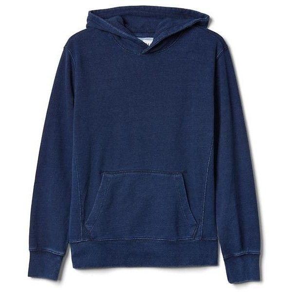 Gap Men Indigo Pullover Hoodie (€64) ❤ liked on Polyvore featuring men's fashion, men's clothing, men's hoodies, dark indigo, tall, mens sweatshirts and hoodies, mens hoodie, mens hoodies, mens tall hoodies and mens tall hoodie