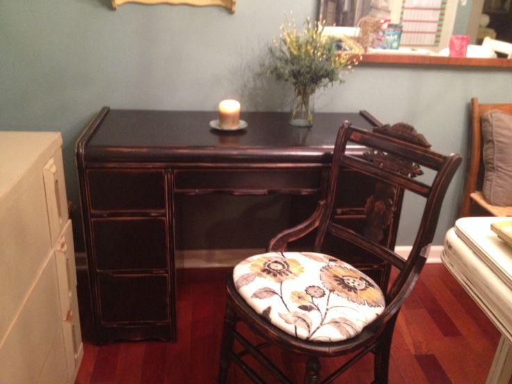 Chic Designs  Black Vintage Desk U0026 Chair!! Vintage DesksDesk  ChairsDublinOhioDeck ...