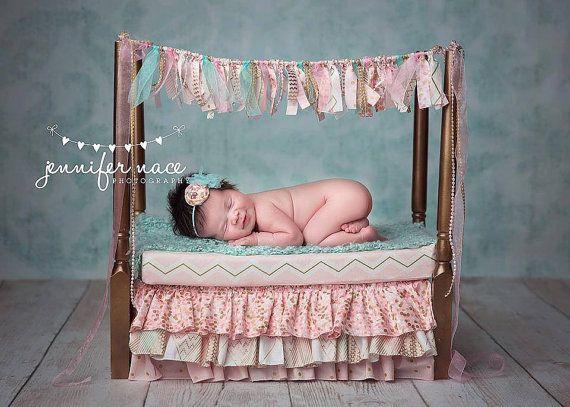 Newborn Baby Girl Photography Prop Set Mattress, banner, and bedskirt