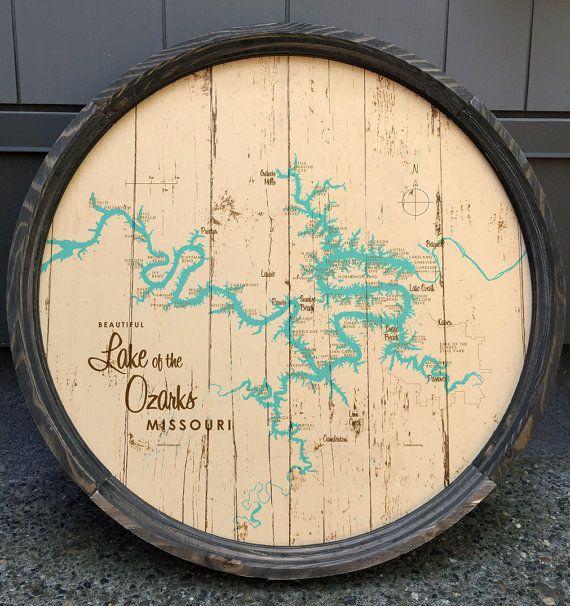 Lake of the Ozarks Map Barrel End by LakeboundShop on Etsy