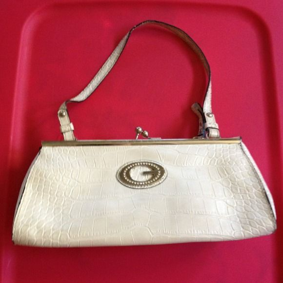 White shiny croc Guess handbag Super cute small guess handbag with rhinestone guess emblem on front. Adorable for an evening out. Guess Bags