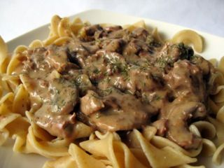 Beef Stroganoff Over Noodles by Tyler Florence  (adapted for kosher copycat recipe)