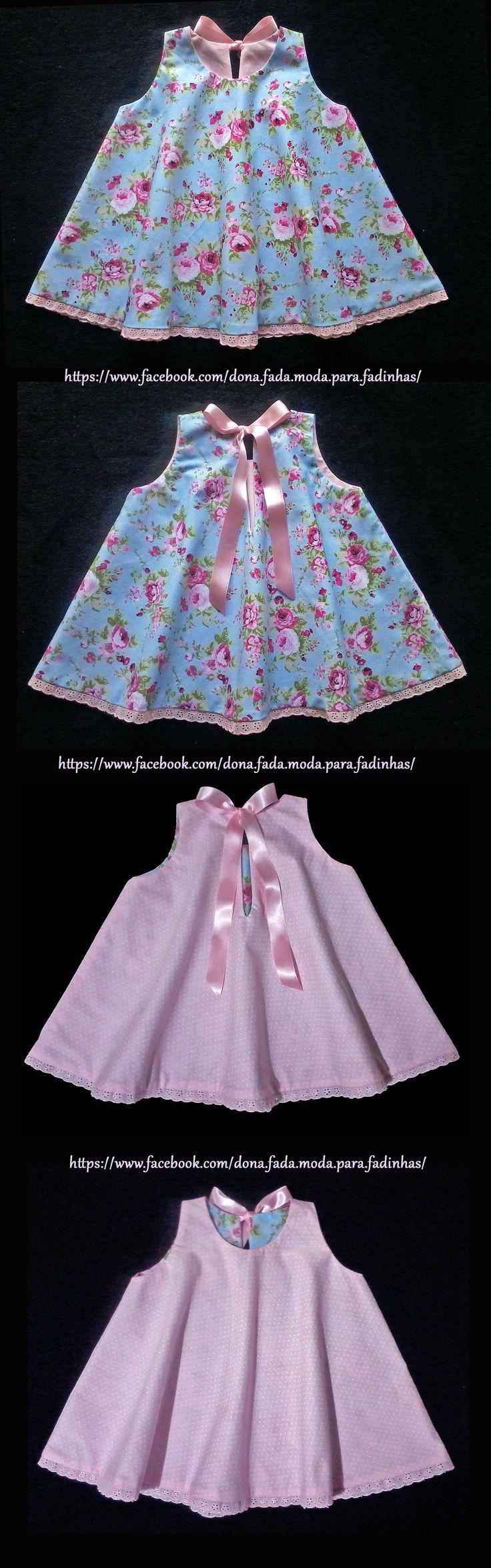 Trapézio Dupla Face 1 ano - Reversible A Line Dress - 1 years- - baby - infant - toddler - kids - clothes for girls - - - https://www.facebook.com/dona.fada.moda.para.fadinhas/