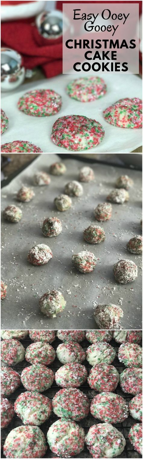 Easy Ooey Gooey Christmas Cake Cookies It is made with a cake mix! #cookies #ChristmasCookies #CookieExchange