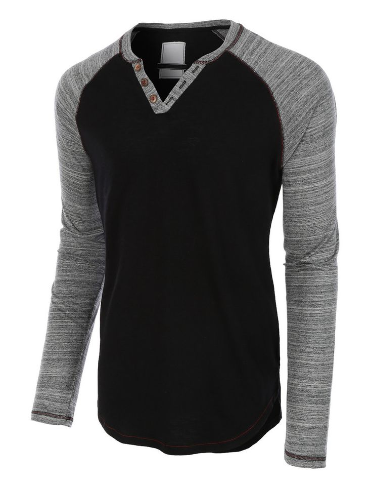 LE3NO Mens Long Sleeve Color Block Crewneck Henley Shirt