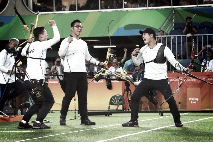Archery Mens Team - South Korea - Rio Olympics 2016 - Kim Woojin, Lee Seungyun and Ku Bonchan