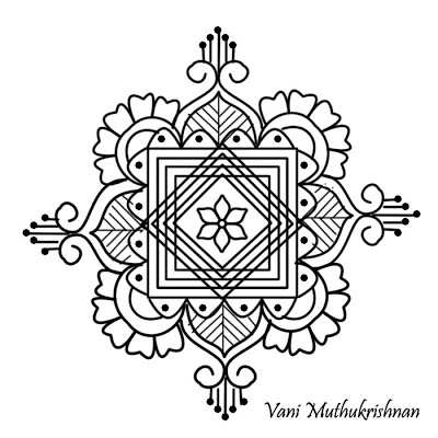 My Kolam: Floral jewels pattern