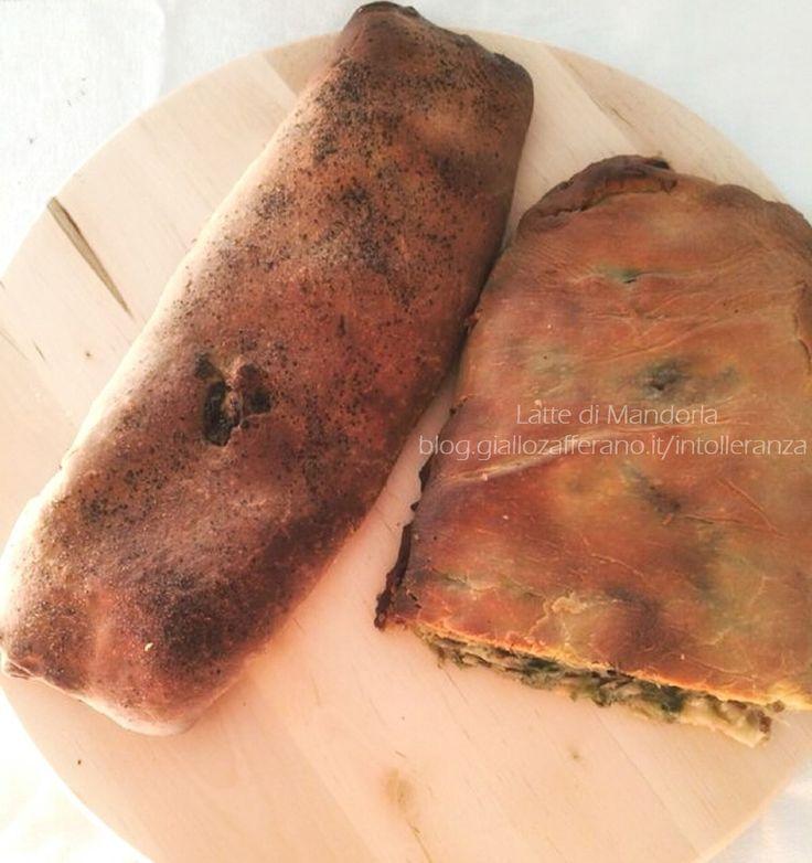 Pizza ripiena con scarola e olive | Latte di Mandorla Blog Ricette cucina senza lattosio per intolleranza al latte e derivati